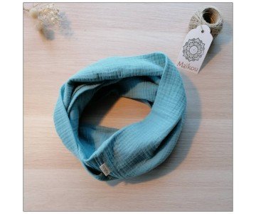 snood double gaze coton bio vert d'eau