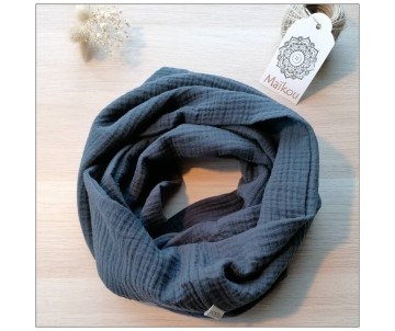 snood double gaze coton bio gris